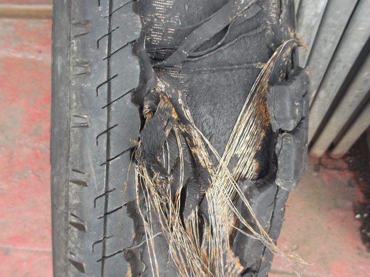 Caravan tyre after a blowout