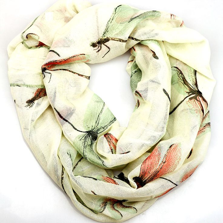$11.99, Cream Dragonfly Inifinity Scarf, women for her fashion accessoires teen gift idea holiday travel loop circle by URFashionista.com on Etsy