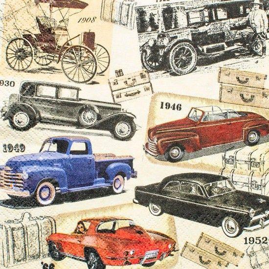 Guardanapo Carros Vintage GCD211625 - Toke e Crie - PalacioDaArte