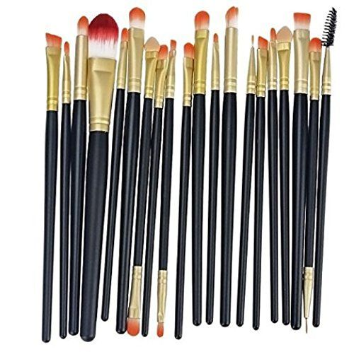 MELADY20pcs Multifunction BlackGold Pro Cosmetic Powder Foundation Eyeshadow Eyeliner Lip Makeup Brushes Sets ** To view further for this item, visit the image link. (Note:Amazon affiliate link)