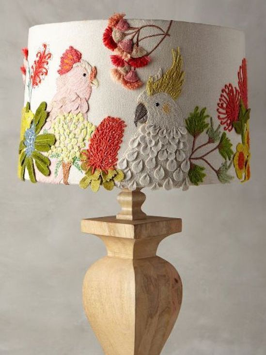 Embroidered Lamp Shade #Anthropologie
