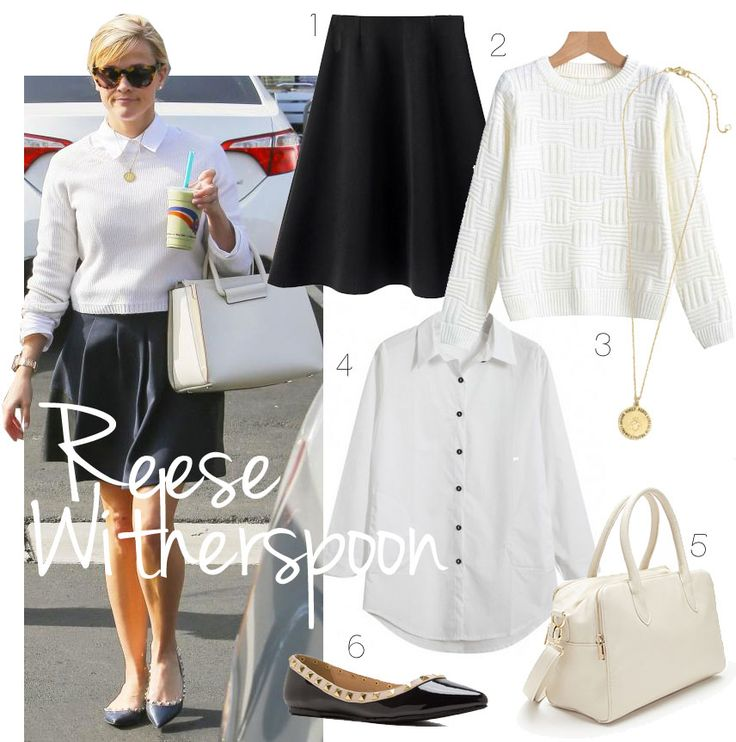 Reese Witherspoon's Preppy black and white look for less