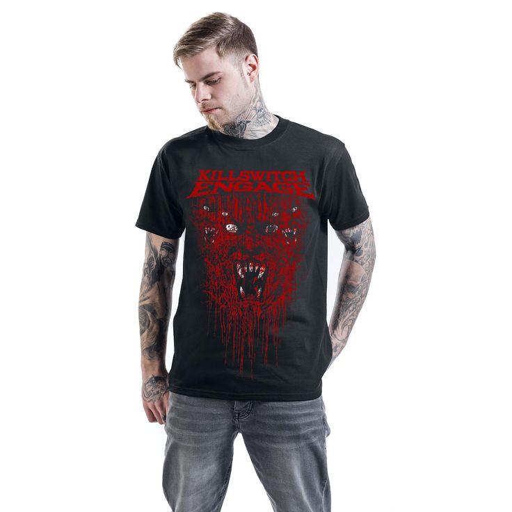 """Classica T-Shirt uomo nera """"Gore"""" dei #KillswitchEngage con scollo tondo e ampia stampa frontale."""