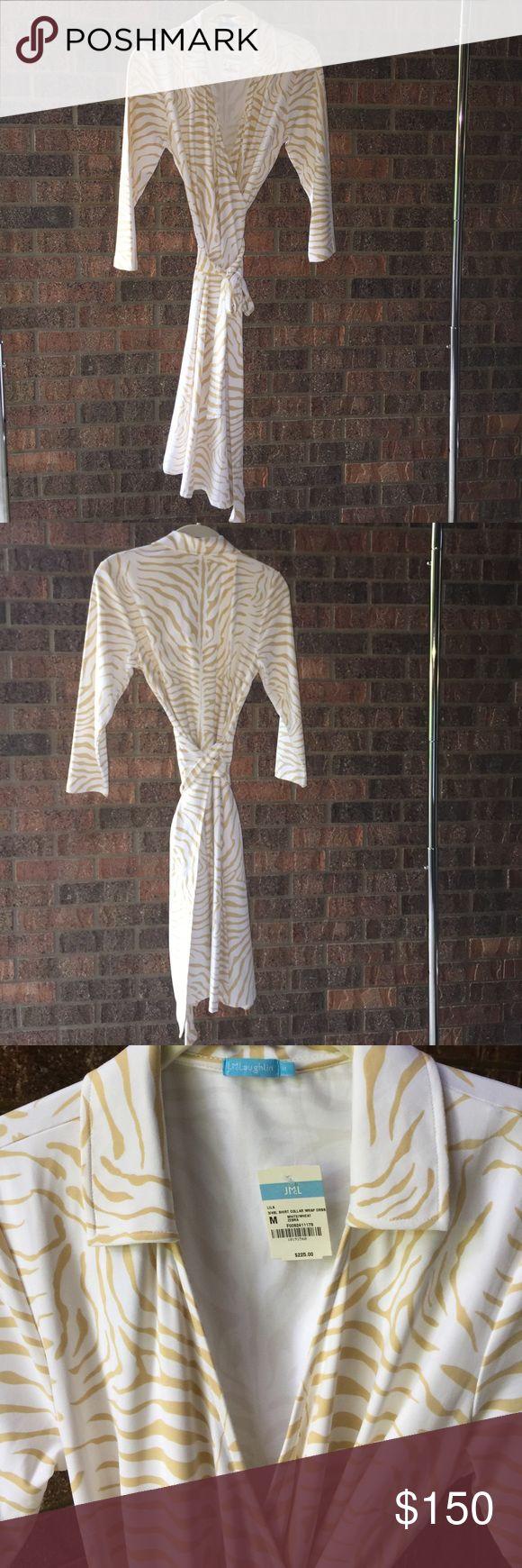 J. McLaughlin LILA collar wrap dress J. McLaughlin LILA collar wheat zebra wrap dress. Size M. NEVER BEEN WORN!!! J. McLaughlin Dresses Long Sleeve