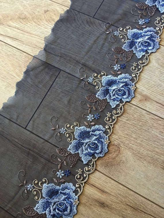 fine embroidered lace trim mesh lace trim with blue peony