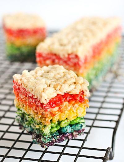 rainbow rice krispy treats