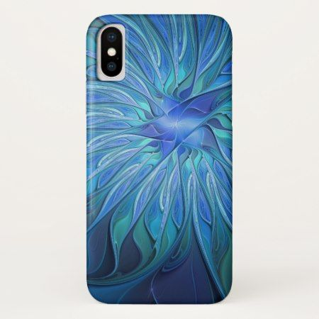 Blue Flower Fantasy Pattern, Abstract Fractal Art iPhone X Case - click/tap to personalize and buy