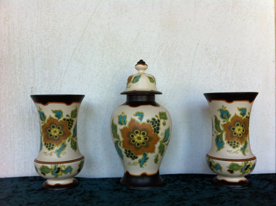 Decorative garniture of 3 vases by Dutch by VintageStuffEurope, $95.00