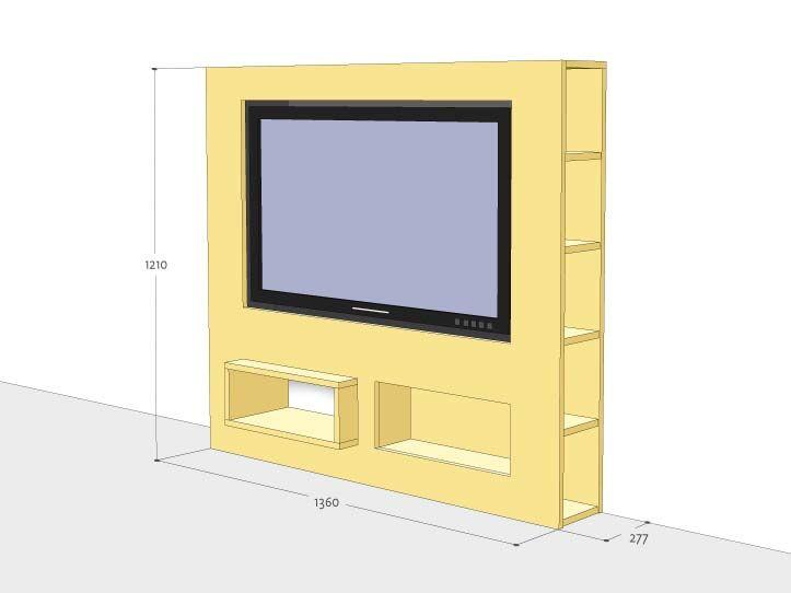 Werktekening TV-meubel, modern, zelf maken in hout of mdf