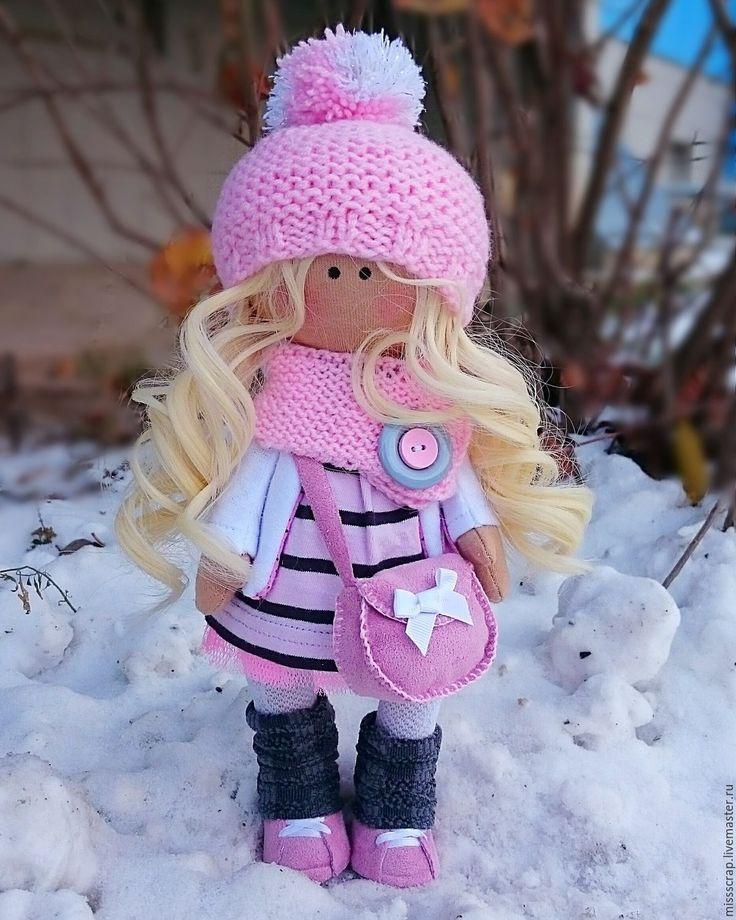Купить Куколка Неженка - розовый, трикотаж, трессы для кукол, ручная работа, сделано с любовью, на заказ