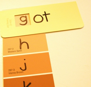 Making words with paint chips...kids can record real & nonsense words...use new words in sentences, etc.  cute!