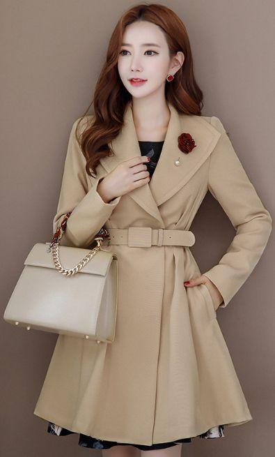 StyleOnme_Feminine Belted Flared Coat #beige #feminine #coat #falltrend #koreanfashion #kstyle #kfashion #dailylook #seoul