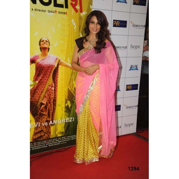 """Color: Pink Collection: Bollywood Replica Saree : Half Chiffon & Net Pallu Fabric Blouse : Raw Silk Petticoat: Not Available"