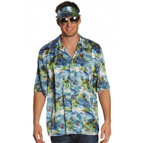Déguisement hawaïen homme, chemise hawaïenne Blue Beach avec casquette hawaïenne (visière), fêtes déguisées, Beach party