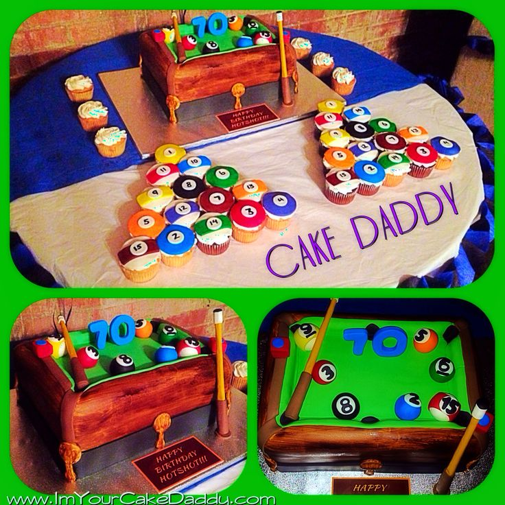 Custom Pool Table Cake With Pool Ball Cupcakes Custom Cakes By Cake