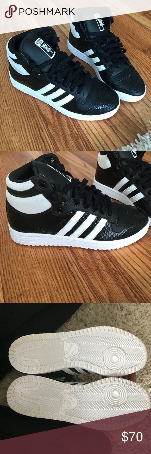 Adidas high tops Black and white faux snake skin adidas high tops. NWOT Adidas Shoes Sneakers