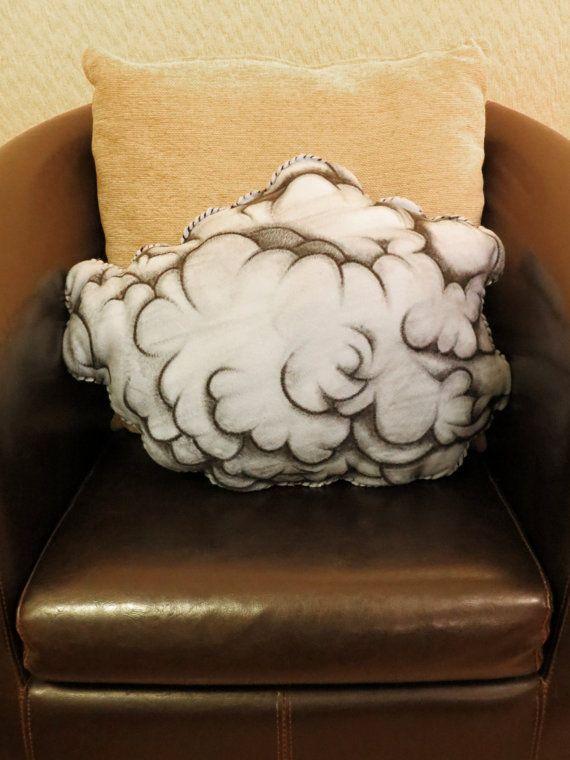 Raincloud - Hand Painted Large Cushion. MEASURES APPROX. 54cm x 40cm.
