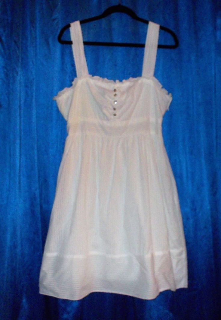 Cool Great White cotton dress; sundress OR beach wedding! 13/14 full skirt lined, Maurices 2017-2018