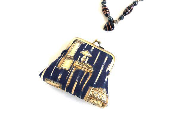 Navy gold clutch purse black antique furniture chair by maplemist