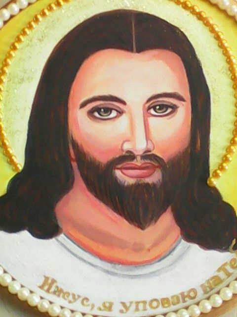 ***Иисус*** моя живопись,дерево,акрил,украшение из бусинок.Украина,о.Шафран,М.Л.П.