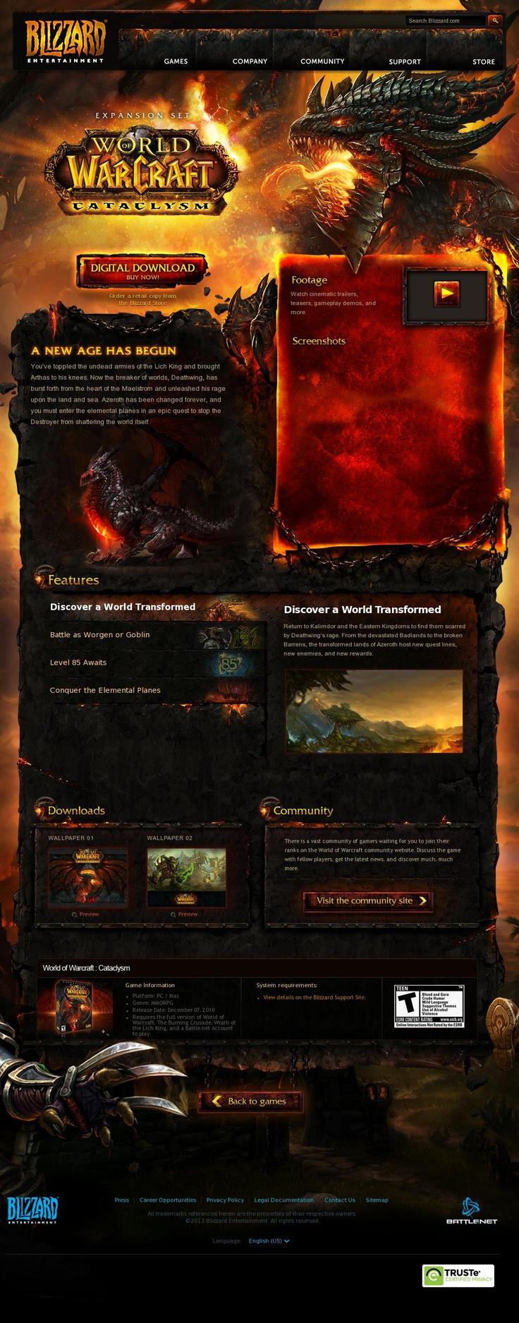 World of Warcraft: Cataclysm  http://us.blizzard.com/en-us/games/cataclysm/