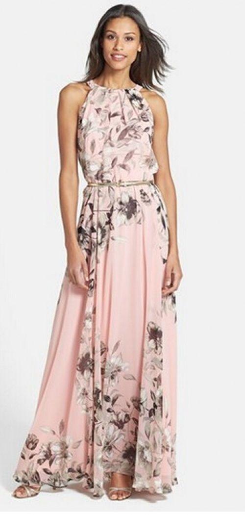 Chiffon Print Flowers Sleeveless Beach Maxi Dress