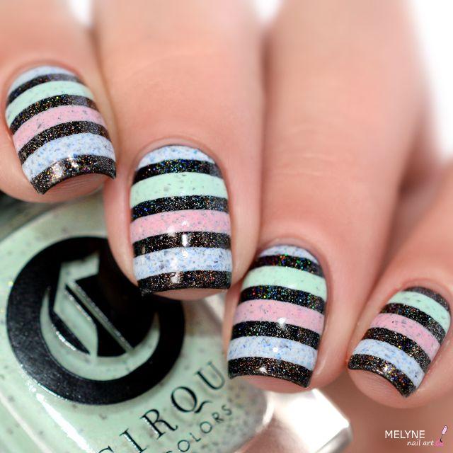 Nail art pastel holo stripe cirque colors