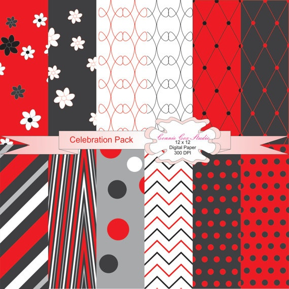 Instant Download,Digital Paper,Printable,Decorative Paper Pack,Scrapbook Paper, Digital Paper Pack Celebration in Scarlet Red,Charcoal Black