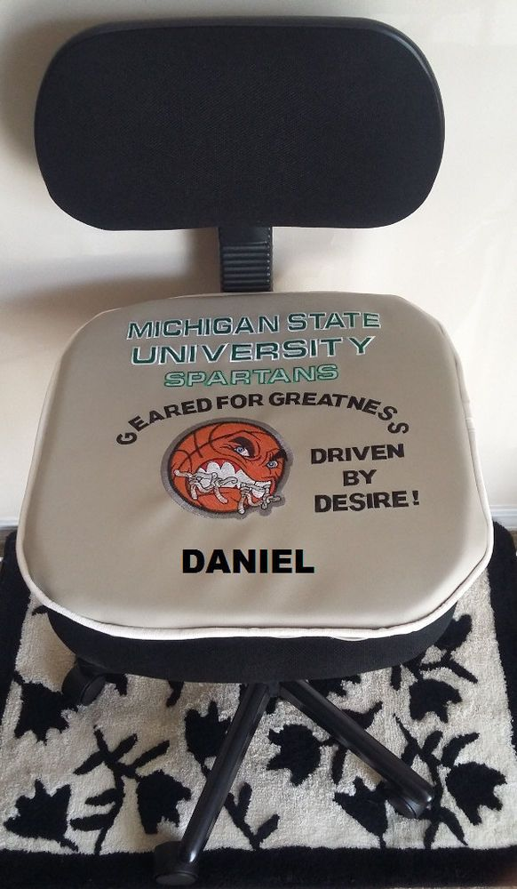 MICHIGAN STATE UNIVERSITY SPARTANS Basketball Office Chair Seat Pad-PERSONALIZED