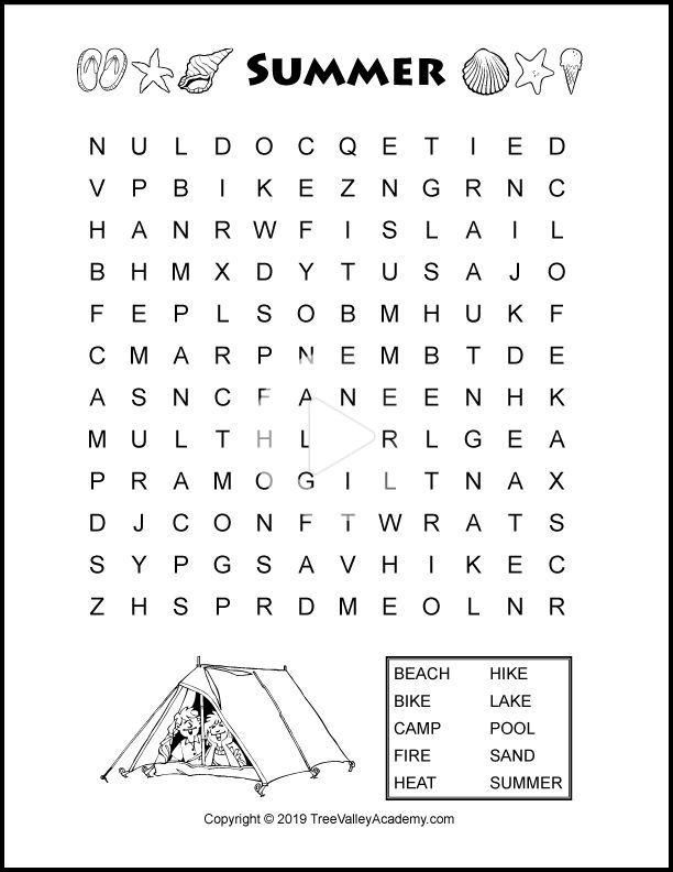 Summer Word Search Puzzles In 2020 Summer Words Kids Math Worksheets Word Puzzles For Kids