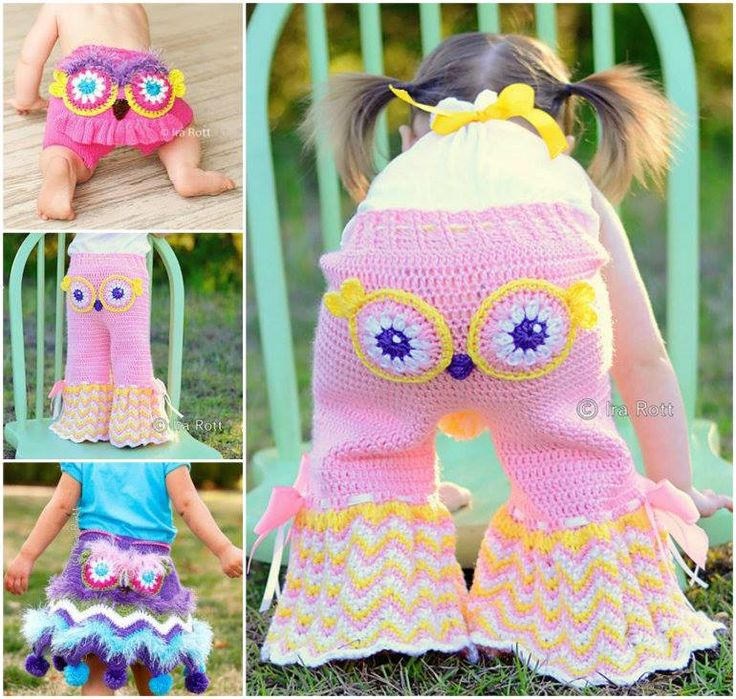 Crochet and Knit Owl Clothing, including Girl's Owl Pants , Ruffled Bloomer Shorts and Owl Pants and Pom Pom Skirt Crochet Pattern