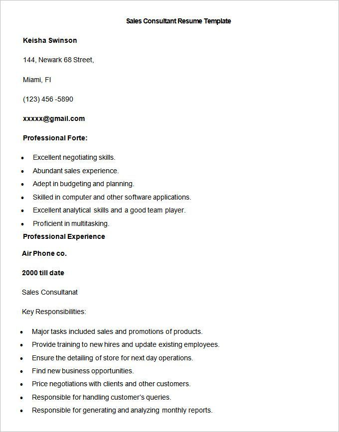 Sample Sales Consultant Resume Template , Write Your Resume Much Easier  With Sales Resume Examples , Sales Resume Examples Are Usually Easy To Find  With ...