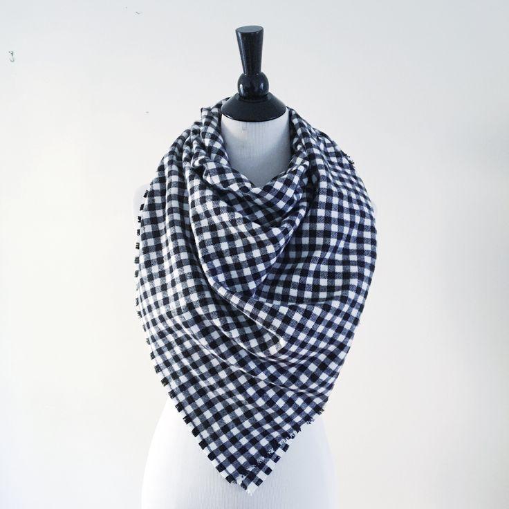 Blanket Scarf - Black/White Gingham