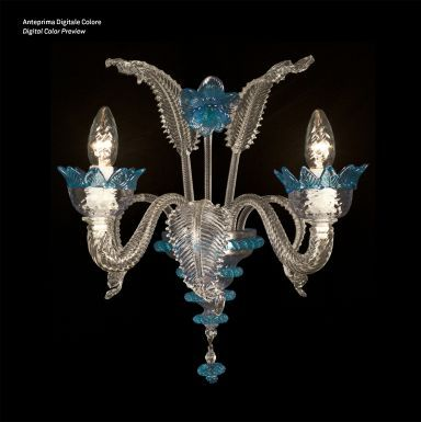 #WallLamp in #Murano #glass from #Venice created exclusively by hand.  Visit www.sognidicristallo.it to see or buy online all our creations! Price 2 lights € 200.