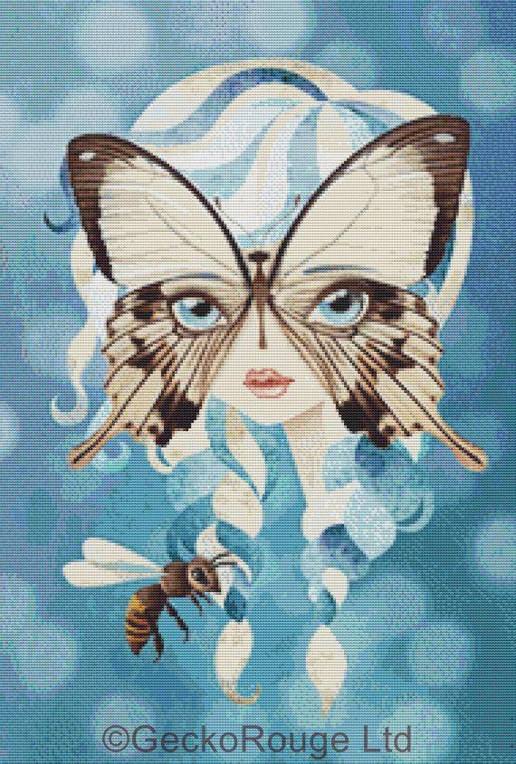 Modern Cross stitch Snow White fairytale art by GeckoRouge on Etsy, #Crossstitch
