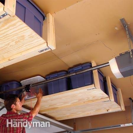 30+ Creative Ways to Organize Your Garage --> Install suspended shelving to storge lighter items