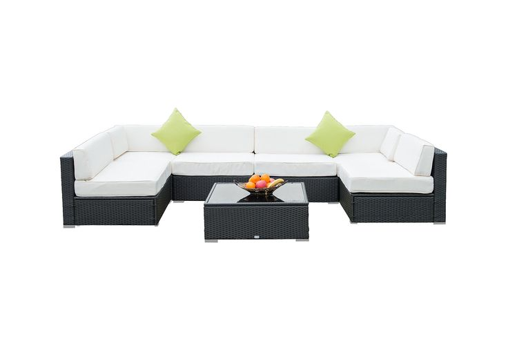 Auro Furniture Outdoor Patio Rattan Wicker Sectional Furniture Set, 7 Piece. Hand made rattan set with sturdy and weather resistant aluminum frame. Versatile arrangements for the seven pieces to match any seating or lounging needs. The cushions are comfortable, durable and easy to clean. Comes with 2 throw pillows (lime green).