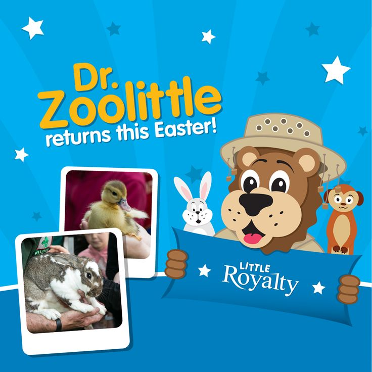 Dr. Zoolittle's Interactive Animal Experience is returning to The Royals Shopping Centre this Easter!  Hop on down from 10am to 5pm on Wednesday 1st April to join Ryan the Lion and his Little Royalty friends for a fun and educational experience with real life Easter bunnies, cuddly meerkats, ducks, fluffy chicks and much more, all totally free!