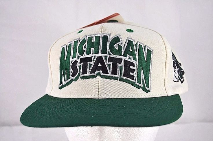 Michigan State Spartans White/Green Baseball Cap Snapback   Clothing, Shoes & Accessories, Men's Accessories, Hats   eBay!