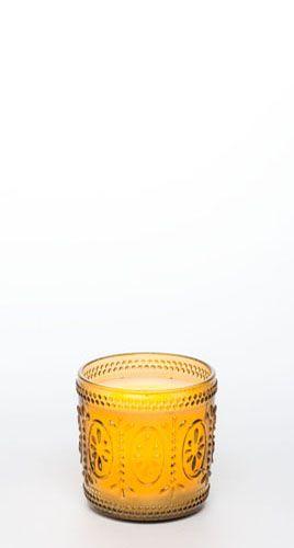 "4"" Ameila Glass Jar w/ Programmable Timer, Amber"