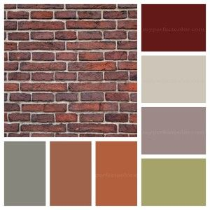 Contrast by picking a colour that is opposite to one of the strongest colours in your brick.