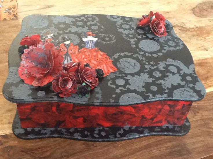 Decorated MDF box, covered with papers and paints and embellished with stamped images, and paper flowers by Gemma Hynes #inkykitty #paperflowers #boxes