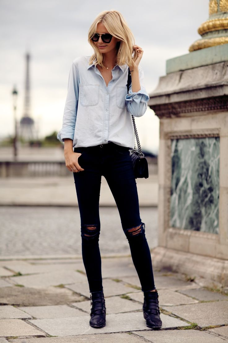 chambray + distressed black denim = #nice #casual #style