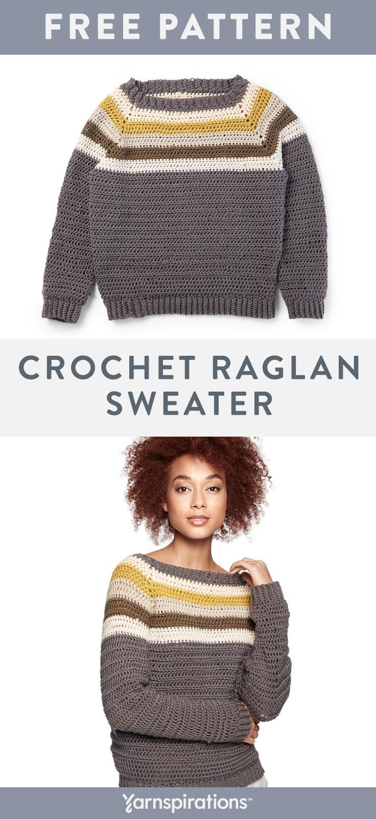 This free crochet raglan sweater pattern is worked from the