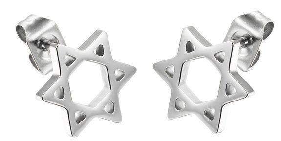 Damen 316L Edelstahl Hexagramm Einzigartige Form Ohrstecker