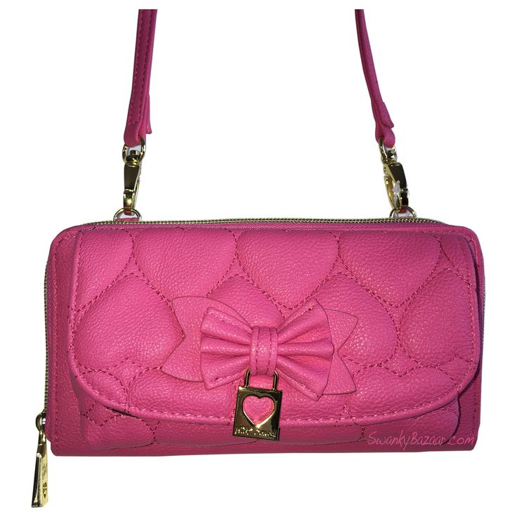 Betsey Johnson BR24025 Pink Crossbody & Cell Phone Wallet on a String