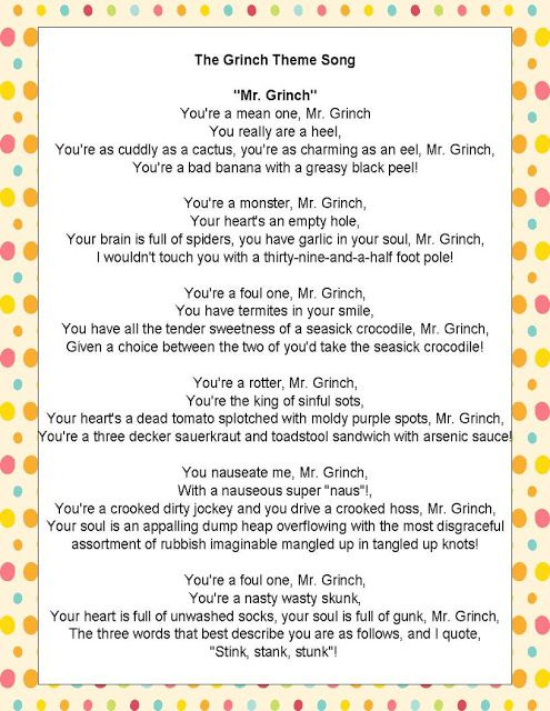 "Similes and Metaphors in ""The Grinch Song"""