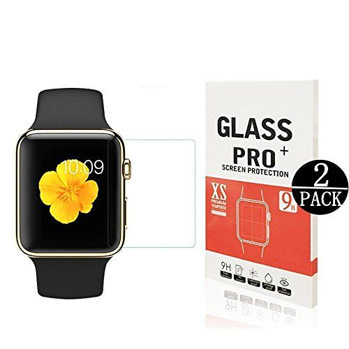 [2 Pack] Apple Watch 42mm Tempered Glass Screen ProtectorWtbone Anti-Scratch 9H Hardness Anti-Fingerprint Bubble Free[Only Covers the Flat Area]Screen Protector for Apple Watch 42mm