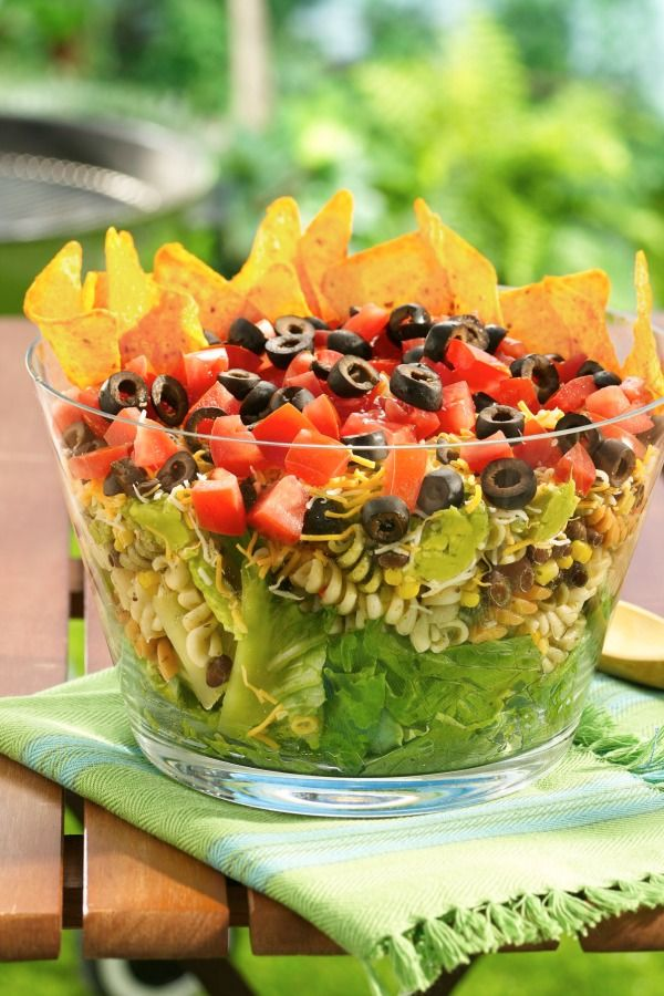 The ultimate fiesta layered pasta salad in 30 min!