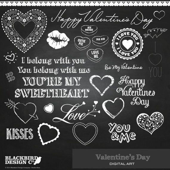 Valentine's Day Chalkboard Clipart  Digital by BlackBirdsDesigns